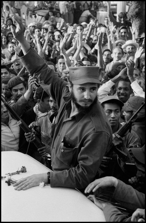 CUBA. 1959. Times of euphoia as Fidel CASTRO and his army tries to drive through the city of Ciefuego, on their way to liberate Havana. Contact email: New York : photography@magnumphotos.com Paris : magnum@magnumphotos.fr London : magnum@magnumphotos.co.uk Tokyo : tokyo@magnumphotos.co.jp Contact phones: New York : +1 212 929 6000 Paris: + 33 1 53 42 50 00 London: + 44 20 7490 1771 Tokyo: + 81 3 3219 0771 Image URL: http://www.magnumphotos.com/Archive/C.aspx?VP3=ViewBox_VPage&IID=2S5RYDI9AE4D&CT=Image&IT=ZoomImage01_VForm