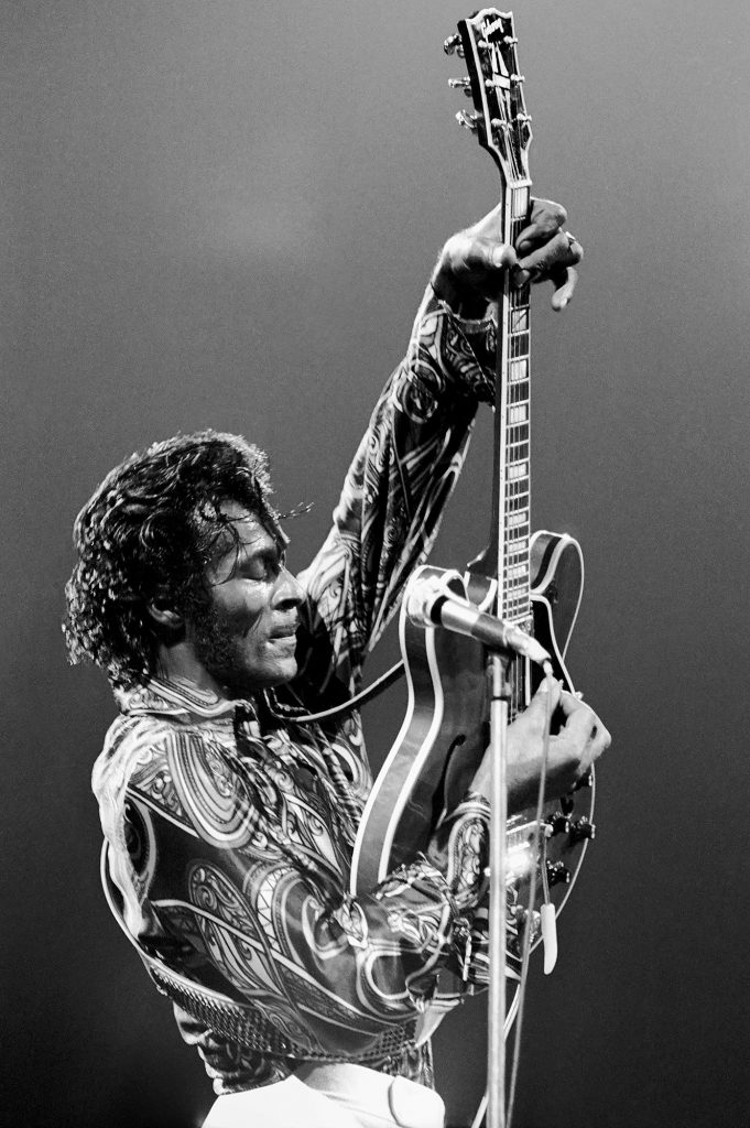 NEW YORK - OCTOBER 15: Rock N Roll pioneer Chuck Berry performs live at Madison Square Garden on October 15, 1971 in New York City, New York. (Photo by Michael Ochs Archives/Getty Images)