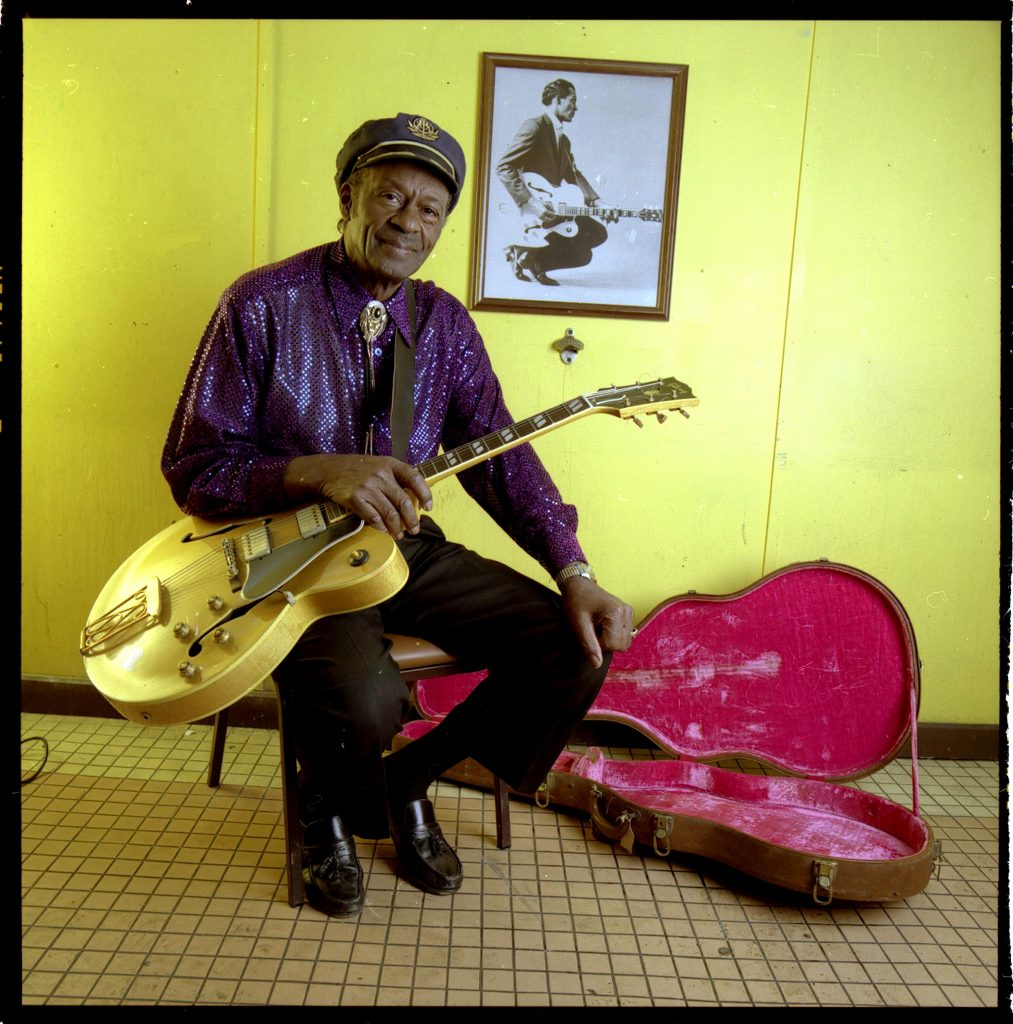 ORG XMIT: NYT9 (NYT9) ST. LOUIS, Mo. -- Feb. 22, 2003 -- CHUCK-BERRY -- Still lean and handsome at 76 and probably the most influential rock musician ever, at least this side of Elvis, Chuck Berry remains as suspicious, defiant and guarded offstage as he is mesmerizing on. In a life overshadowed by three prison terms, his own inner demons and the humiliations of racism, he now carefully avoids any public hint of the anger and resentment that seem to lurk just beneath the surface. Berry backstage at Blueberry Hill,a music club and bar on St. Louis' west side, Feb. 5, 2003. (Fred R. Conrad/The New York Times)